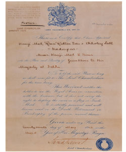 Letter of royal appointment by H.M. King George V